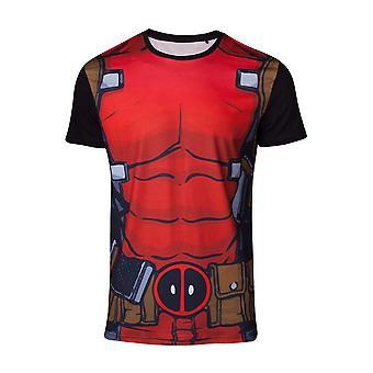Marvel Comics Deadpool Mens Suit Sublimation T-Shirt Large Multicolour