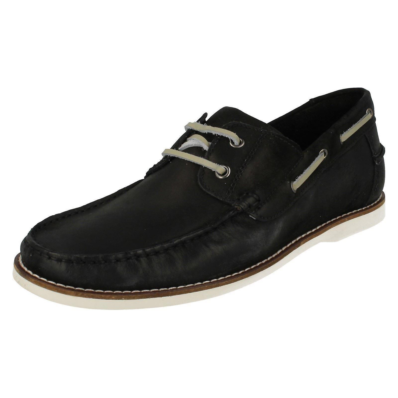 Men's Anatomic & Co Casual Lace Up Deck Shoes Yago 191905 Vintage Black Size UK 10.5/45
