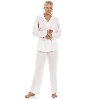 Camille Pink & Grey Pin Dot Long Sleeve Polycotton Button Front Pyjama Set