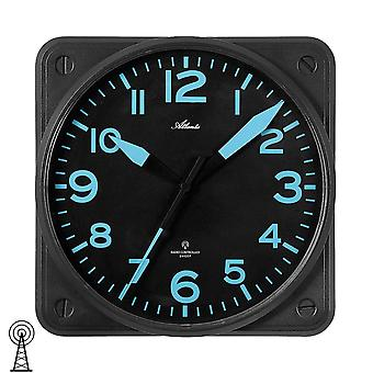 Atlanta 4381/7 wall clock radio radio controlled wall clock analog black square quietly without ticking