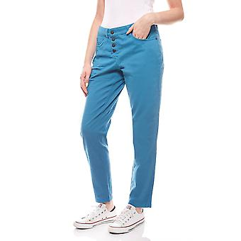sheego ladies pants with button placket summer blue