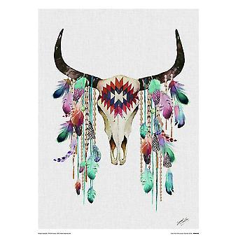Zomer Thornton kunst tribal schedel klein-formaat afdrukken