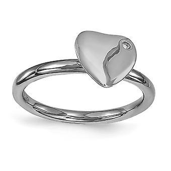 2,25 mm Sterling zilveren omlijsting gepolijst Ruthenium plating stapelbare expressies Ruthenium-plated hart Diamond Ring - Ring