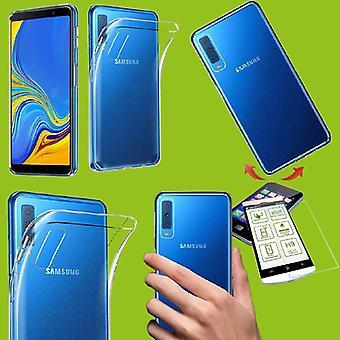 Silikoncase transparent + 0,26 H9 verre pour Samsung Galaxy A7 A750F 2018 Housse étui case sac trempé