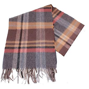 Bassin and Brown Cruyff Checked Wool Scarf - Brown/Chocolate