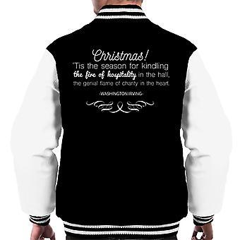 Christmas Hospitality Washington Irving Quote Men's Varsity Jacket