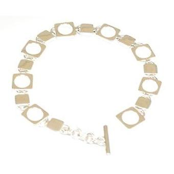 Toc Sterling Silver Square and Circle Link Bracelet with T-Bar Closure