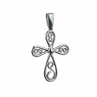 Silver 27x20mm fancy wire work Cross