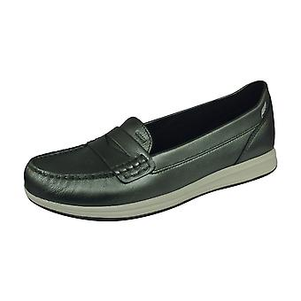 Geox D Avery C Pearl Patent Leather Womens Slip on Shoes - Dark Grey
