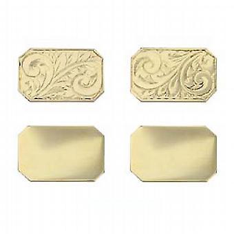 9ct Gold 18x12mm cut corner hand engraved chain Cufflinks