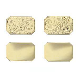 9ct Gold 18x12mm cut corner hand engraved chain Cufflinks