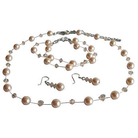 Peach Pearl & Crystal Swarovski Necklace Earrings Bracelet Set