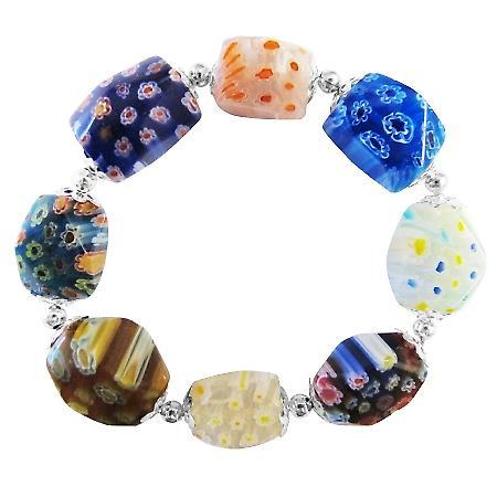 Millefiori Murano Glass Bead Bracelet Stretchable Comfortable Bracelet