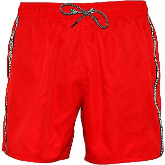 Emporio Armani Side Logo Swim Shorts, Red