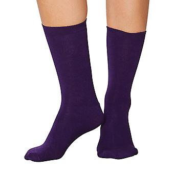 Jackie women's soft plain bamboo crew socks in purple | By Thought