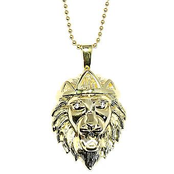 Lion Pendant & Ball Chain Necklace made with Red Ruby set Eyes & 925. Sterling Silver 14KT Gold Plated