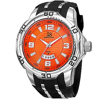 Joshua & Sons JX110 Men's  Extended Date Window Layered Dial Silicone Strap Watch JX110OR