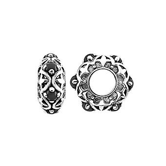 Storywheels Oxidised Silver Patterned Onyx Charm S450ON