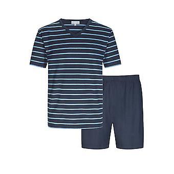 Mey men 11271-668 mannen Yacht blauw gestreepte katoenen pyjama Korte pyjama set
