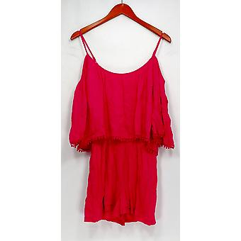 Lush Jumpsuits Short Sleeve Cold Shoulder Romper Style Pink