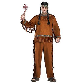 Native American Indian ädel krigare Cherokee västerländska män kostym en storlek