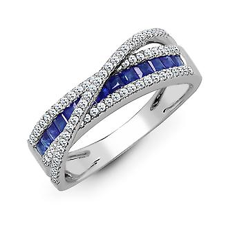 Jewelco London 18ct White Gold Channel Set 0.33ct Diamond and Princess Blue 0.57ct Sapphire Wembley Eternity Ring 9mm