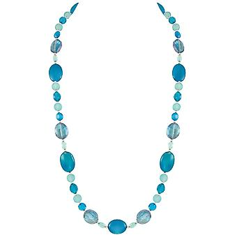 Eternal Collection Marine Semi Precious Turquoise Agate And Crystal Long Beaded Necklace