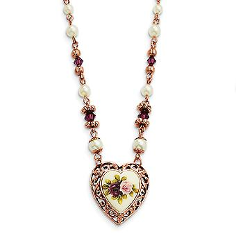 Fancy Lobster Closure Rose-tone Prpl Crystal Floral Glass Pearl Heart 15 In Neck