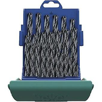 HSS Metal twist drill bit set 25-piece Heller 18371 0 rolled DIN 338 Cylinder shank 1 Set