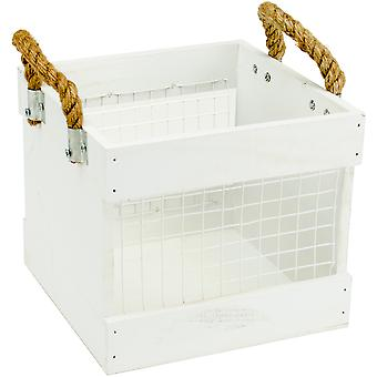 Mix The Media Wood Chickenwire Crate W/ Handles-White, 7.75