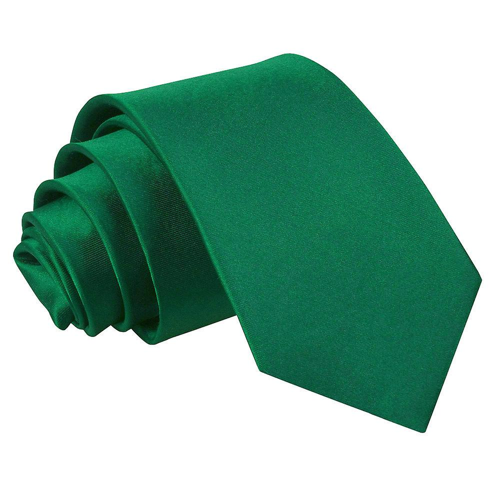 Plain Emerald Green Satin Slim Tie