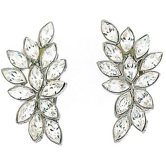 Clip On Earrings Store Swarovski Crystal Leaf Clip On Earrings