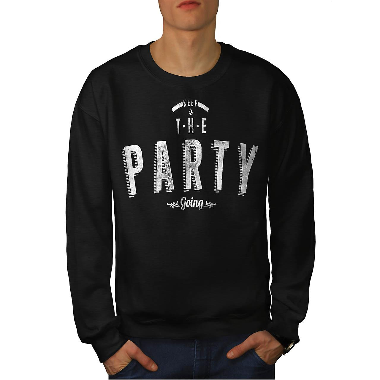Keep The Party Going Rave Beats Men Black Sweatshirt | Wellcoda