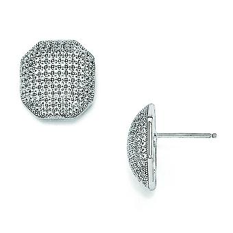 Sterling Silver and Cubic Zirconia Fancy Polished Post Earrings
