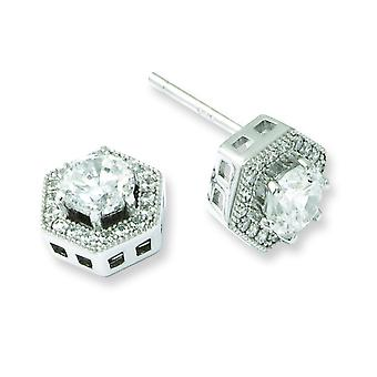 Sterling Silver and Cubic Zirconia Brilliant Embers Hexagon Post Earrings