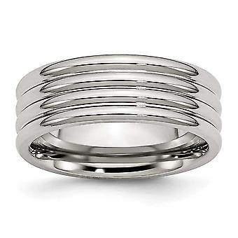Stainless Steel Grooved 8mm Polished Band Ring - Size 10.5