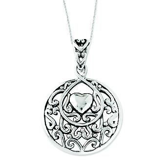 Sterling Silver Antiqued I Choose You Pendant 18inch Heart Necklace - 7.0 Grams