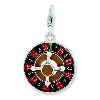 Argento smaltato 3-d Roulette Wheel With Lobster Clasp fascino - 4,5 grammi