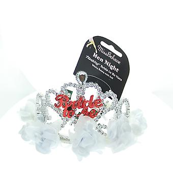 Hen Night Flashing Bride To Be Tiara With Long Veil & Roses Hen Party Accessory