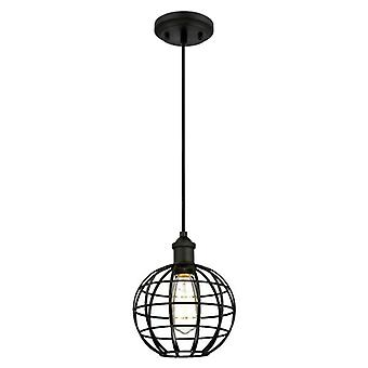 Westinghouse One-Light Pendant matte black with globe cage