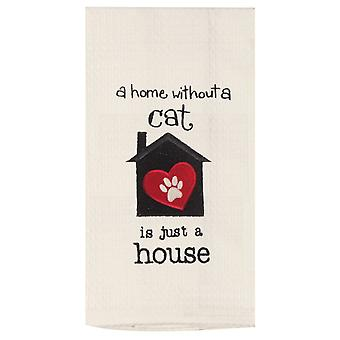 A Home Without A Cat Is Just A House Embroidered Waffle Weave Kitchen Dish Towel