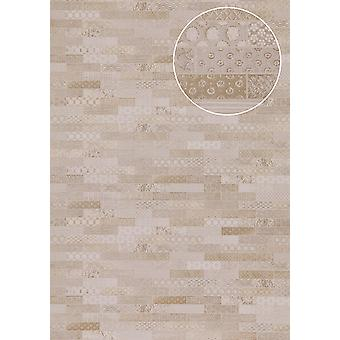 Ethnic cream wallpaper Atlas ICO-5075-1 non-woven wallpaper smooth with tiling shimmering grey beige 7,035 m2 grey white