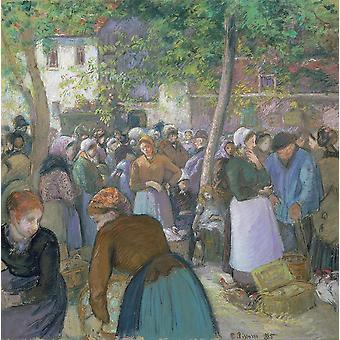 Camille Pissarro - Poultry Market at Gisors Poster Print Giclee