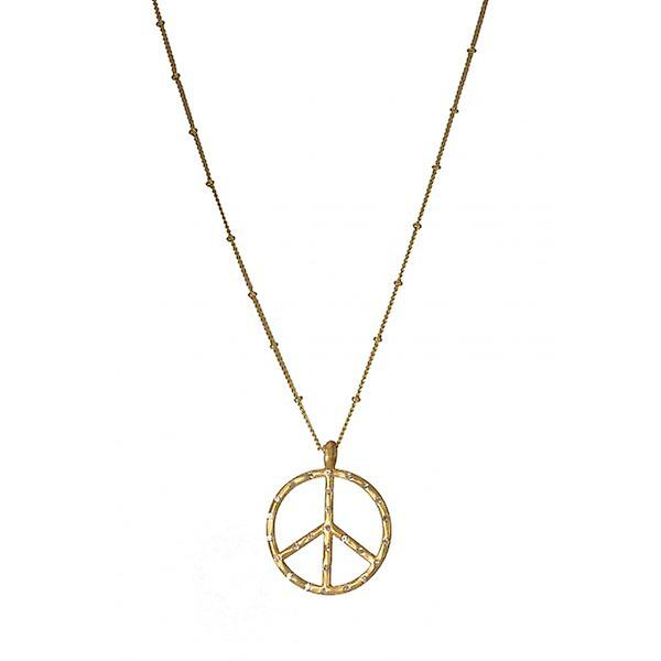 W.A.T Sparkling Gold Style Crystal Peace Symbol Necklace