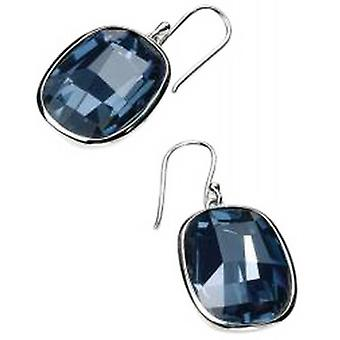 Elements Silver Curved Square Hook Earrings - Silver/Blue