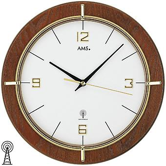 Radio controlled wall clock clock clock radio clock wood Ø 29 cm AMS