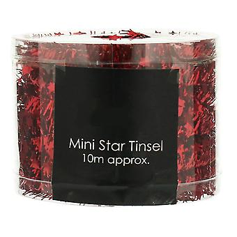Red Mini Star Tinsel Garland for Christmas Decoration - 10m