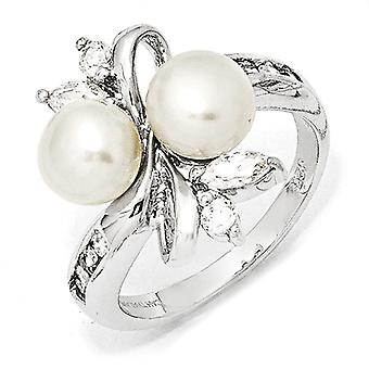 Sterling Silver Rhodium-plated Cubic Zirconia White Freshwater Cultured Pearl Leaves Ring - Ring Size: 6 to 8