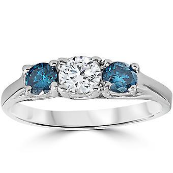 3/4ct 3 Stone Blue & White Diamond Trellis Engagement Ring 14K White Gold