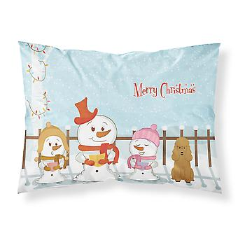 Merry Christmas Carolers Poodle Tan Fabric Standard Pillowcase